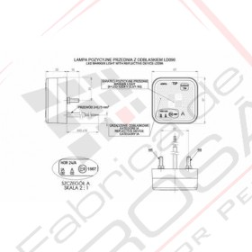 Marker light with reflective device, square (white)