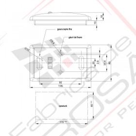 Lampa interior plafon/universala 135x80mm FT-102b cu intrerupator, alba, 12/24V Fristom