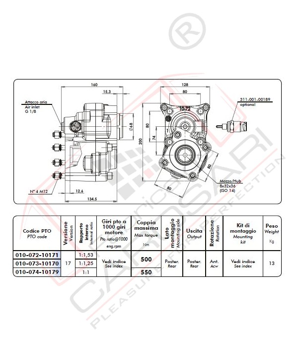 Pneumatic clutch power take-off,Flange ISO 4 bolt male shaft 32x36 DIN 5462