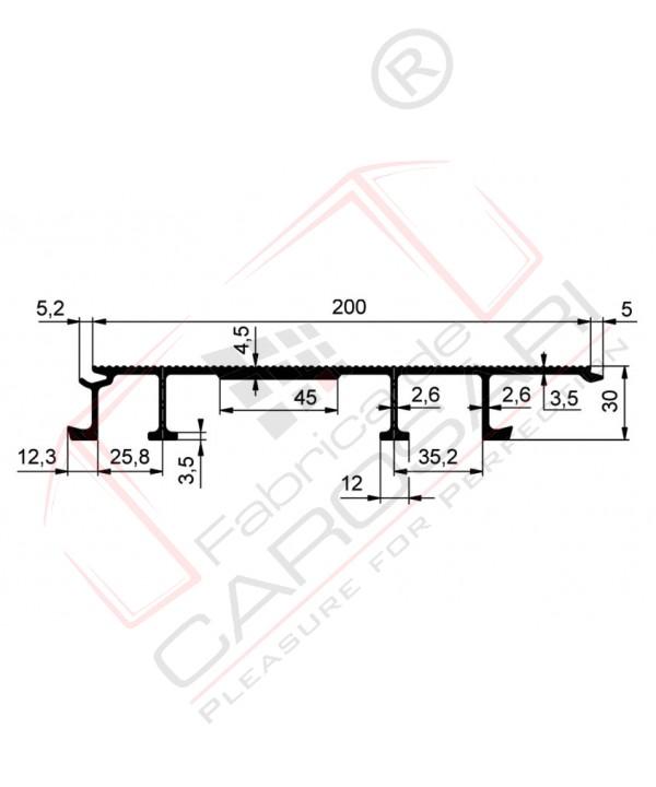 Floorprofile 200x30mm reinfor. Aluminium