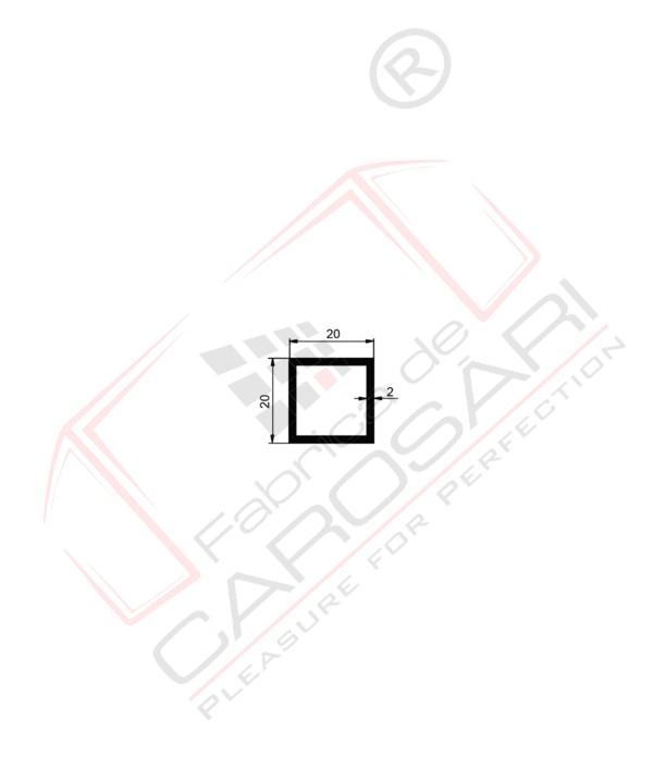 Tube, square, 20x2, AlMgSi0.5, 0.389kg/m