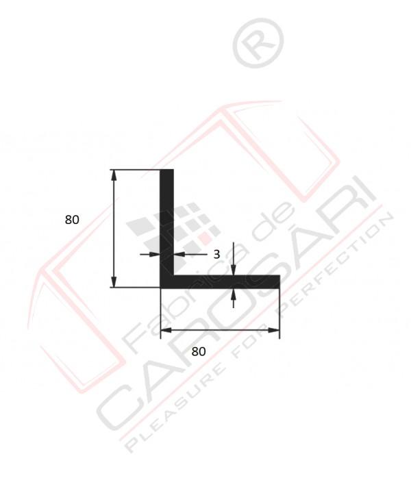 Profil L 80x80x3mm din aluminiu anodizat  Lungime bara 6m