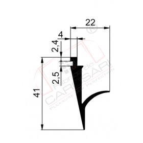 Rubber seal for flap, bottom