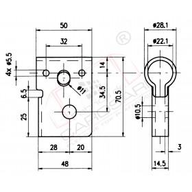 Bar lock handle socket 22mm