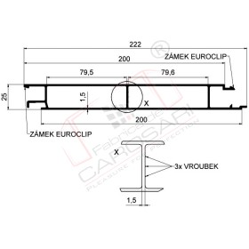 Middle profile Eurolock 200mm, aluminium