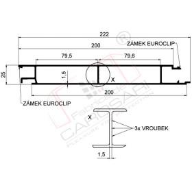 Middle profile Eurolock 200 mm, anodized