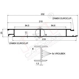 Middle profile Eurolock 210 mm, anodized