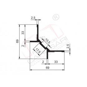 Vertical inner roof profile. aluminium