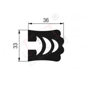 Safety profile PVC C-T, 3000 mm