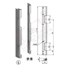 Rear door hinge 600 mm, joint, L, anod.