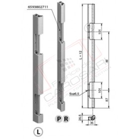 Hinge joint for rear doors 600mm L anod